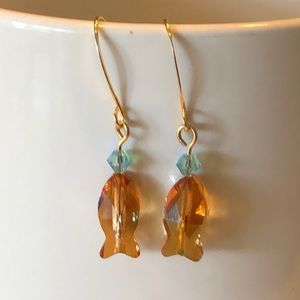 💕Plenty of Fish Earrings Topaz Gold Ear-hooks💕